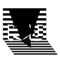 Black & White Stripes Big Triangle I Love You 3d Greeting Card (7x5) by EDDArt