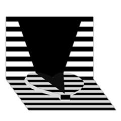 Black & White Stripes Big Triangle Heart Bottom 3d Greeting Card (7x5) by EDDArt