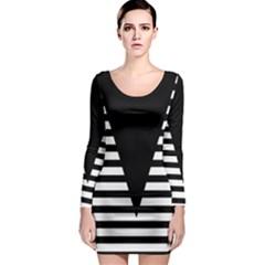 Black & White Stripes Big Triangle Long Sleeve Bodycon Dress by EDDArt
