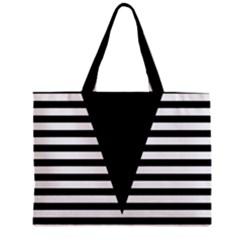 Black & White Stripes Big Triangle Zipper Mini Tote Bag by EDDArt