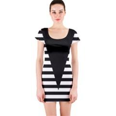 Black & White Stripes Big Triangle Short Sleeve Bodycon Dress by EDDArt