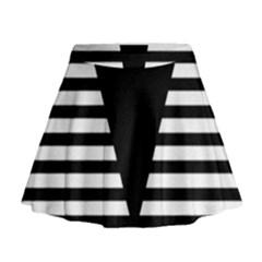 Black & White Stripes Big Triangle Mini Flare Skirt by EDDArt