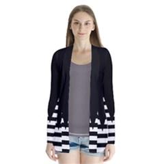 Black & White Stripes Big Triangle Cardigans by EDDArt