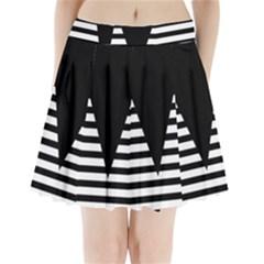 Black & White Stripes Big Triangle Pleated Mini Skirt by EDDArt