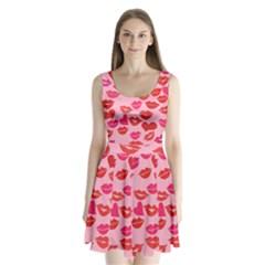 Valentine s Day Kisses Split Back Mini Dress  by BubbSnugg