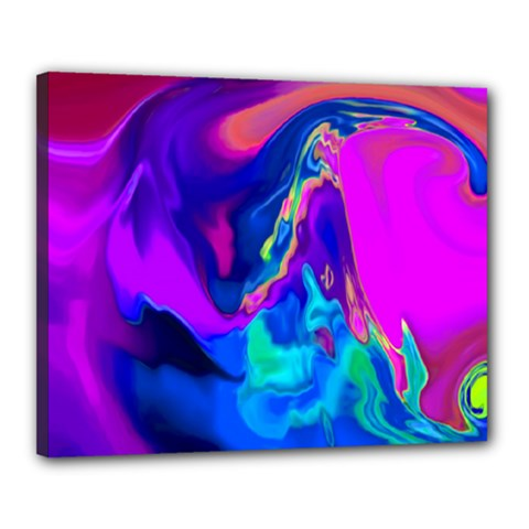 The Perfect Wave Pink Blue Red Cyan Canvas 20  X 16  by EDDArt