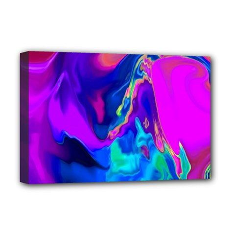The Perfect Wave Pink Blue Red Cyan Deluxe Canvas 18  X 12   by EDDArt