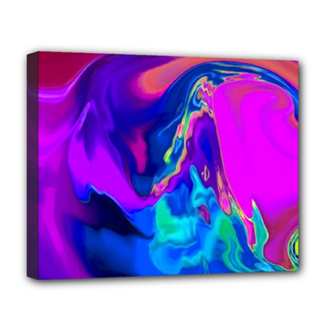 The Perfect Wave Pink Blue Red Cyan Deluxe Canvas 20  X 16   by EDDArt