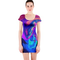 The Perfect Wave Pink Blue Red Cyan Short Sleeve Bodycon Dress by EDDArt