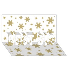 Gold Snow Flakes Snow Flake Pattern Best Sis 3d Greeting Card (8x4) by Onesevenart