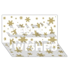 Gold Snow Flakes Snow Flake Pattern Best Wish 3d Greeting Card (8x4) by Onesevenart