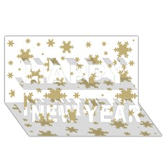 Gold Snow Flakes Snow Flake Pattern Happy New Year 3d Greeting Card (8x4) by Onesevenart