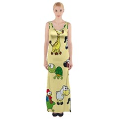 Group Of Animals Graphic Maxi Thigh Split Dress by Onesevenart