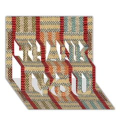 Fabric Pattern Thank You 3d Greeting Card (7x5) by Onesevenart