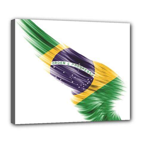 Flag Of Brazil Deluxe Canvas 24  X 20   by Onesevenart