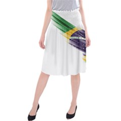 Flag Of Brazil Midi Beach Skirt by Onesevenart