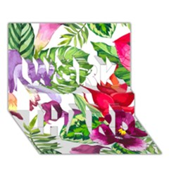 Vector Pattern Tropical Work Hard 3d Greeting Card (7x5) by Onesevenart