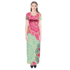 Art Abstract Pattern Short Sleeve Maxi Dress by Onesevenart