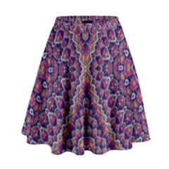 Purple Dotted Mosaic High Waist Skirt by KirstenStar