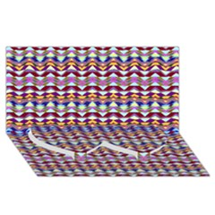Ethnic Colorful Pattern Twin Heart Bottom 3d Greeting Card (8x4) by dflcprints