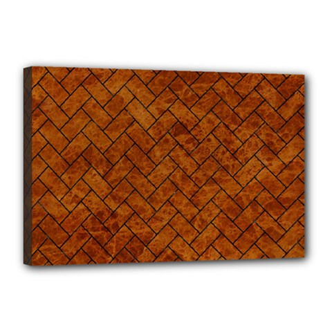 Brick2 Black Marble & Brown Marble Canvas 18  X 12  (stretched) by trendistuff