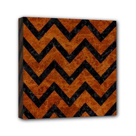 Chevron9 Black Marble & Brown Marble (r) Mini Canvas 6  X 6  (stretched) by trendistuff