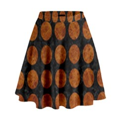 Circles1 Black Marble & Brown Marble High Waist Skirt by trendistuff