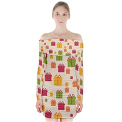 Christmas Gift Box Vector Seamless Pattern Vector Long Sleeve Off Shoulder Dress by Onesevenart