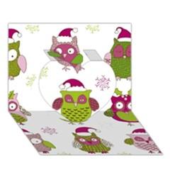 Cartoon Christmas Owl Cute Vector Heart 3d Greeting Card (7x5)