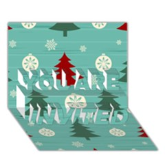 Christmas Tree With Snow Seamless Pattern Vector You Are Invited 3d Greeting Card (7x5) by Onesevenart