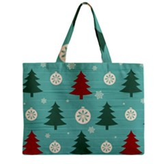 Christmas Tree With Snow Seamless Pattern Vector Zipper Mini Tote Bag by Onesevenart