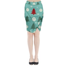 Christmas Tree With Snow Seamless Pattern Vector Midi Wrap Pencil Skirt by Onesevenart