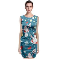Christmas Stockings Vector Pattern Classic Sleeveless Midi Dress by Onesevenart