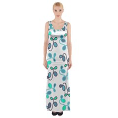 Blue Garden Maxi Thigh Split Dress by Valentinaart