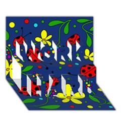 Ladybugs   Blue Work Hard 3d Greeting Card (7x5) by Valentinaart