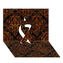 Damask1 Black Marble & Brown Marble Ribbon 3d Greeting Card (7x5) by trendistuff