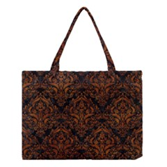 Damask1 Black Marble & Brown Marble Medium Tote Bag by trendistuff