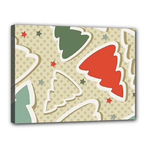 Christmas Tree Stars Pattern Canvas 16  X 12  by Onesevenart