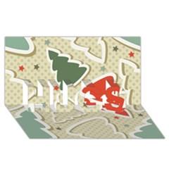 Christmas Tree Stars Pattern Hugs 3d Greeting Card (8x4) by Onesevenart
