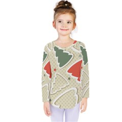 Christmas Tree Stars Pattern Kids  Long Sleeve Tee
