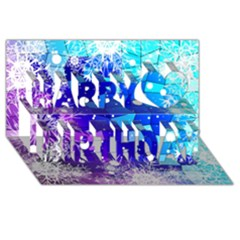 Christmas Snowflake With Shiny Polygon Background Vector Happy Birthday 3d Greeting Card (8x4) by Onesevenart