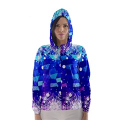 Christmas Snowflake With Shiny Polygon Background Vector Hooded Wind Breaker (Women) by Onesevenart