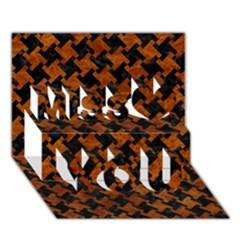 Houndstooth2 Black Marble & Brown Marble Miss You 3d Greeting Card (7x5) by trendistuff