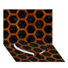Hexagon2 Black Marble & Brown Marble Heart Bottom 3d Greeting Card (7x5) by trendistuff