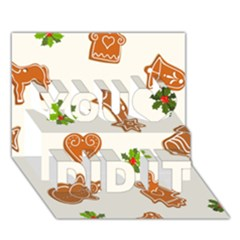 Cute Christmas Seamless Pattern  You Did It 3d Greeting Card (7x5)