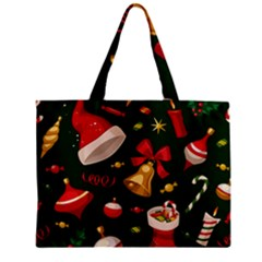 Cute Christmas Seamless Pattern Zipper Mini Tote Bag by Onesevenart