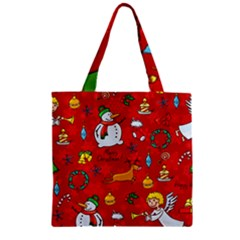 Cute Christmas Seamless Pattern Vector  Zipper Grocery Tote Bag by Onesevenart