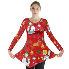 Cute Christmas Seamless Pattern Vector  Long Sleeve Tunic  by Onesevenart