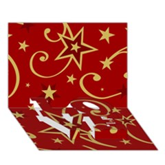 Elements Of Christmas Decorative Pattern Vector Love Bottom 3d Greeting Card (7x5) by Onesevenart