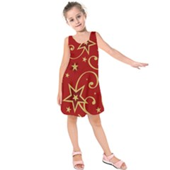 Elements Of Christmas Decorative Pattern Vector Kids  Sleeveless Dress by Onesevenart